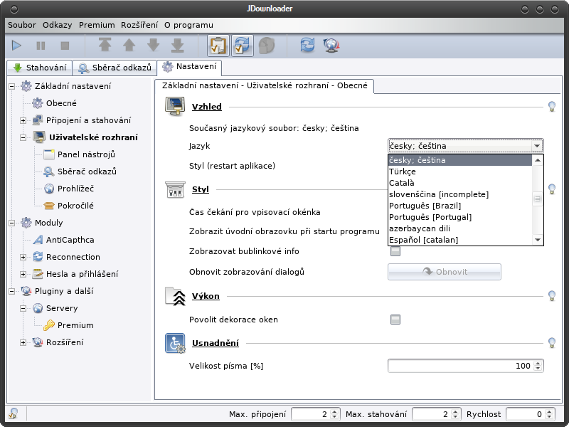 Manjaro Linux CZ - JDownloader v Manjaro Linux